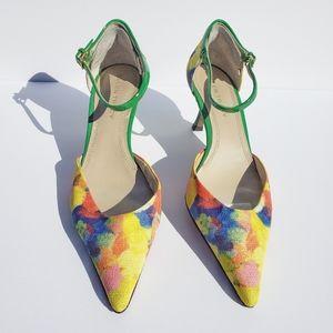 ELLEN TRACY Erin Multicolor Ankle Strap Heels 8.5